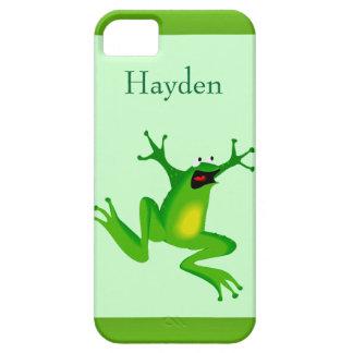 Custom Name Wild Cartoon Jumping Frog Green iPhone 5 Case