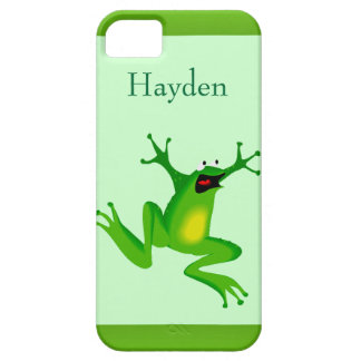 Custom Name Wild Cartoon Jumping Frog Green iPhone 5 Covers