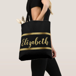 Custom name with faux gold ribbons on black tote bag