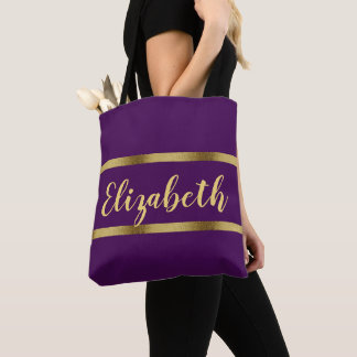 Custom name with faux gold ribbons purple tote bag