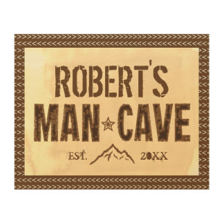 Custom Name & Year Man Cave Wood Wall Sign Wood Prints