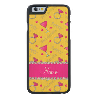 Custom name yellow bachelorette cocktails rings carved® maple iPhone 6 case