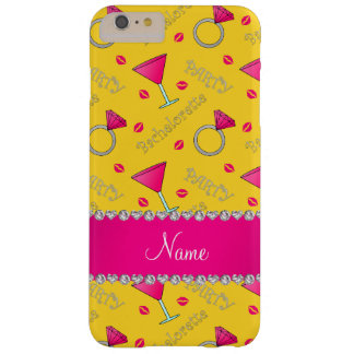 Custom name yellow bachelorette cocktails rings barely there iPhone 6 plus case