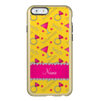 Custom name yellow bachelorette cocktails rings incipio feather® shine iPhone 6 case