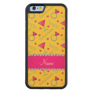 Custom name yellow bachelorette cocktails rings maple iPhone 6 bumper case