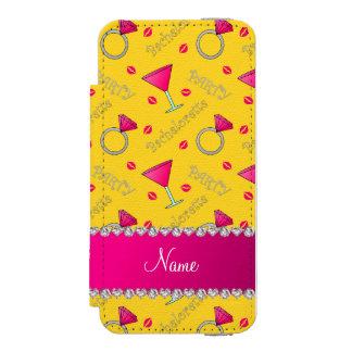 Custom name yellow bachelorette cocktails rings incipio watson™ iPhone 5 wallet case