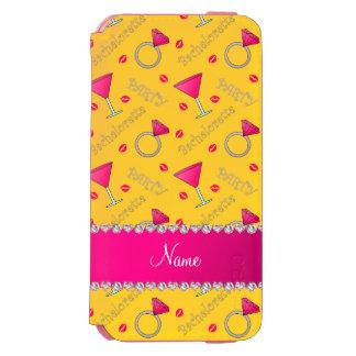 Custom name yellow bachelorette cocktails rings incipio watson™ iPhone 6 wallet case