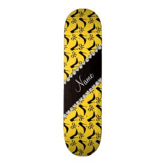 Custom name yellow black high heels bow diamond skate board