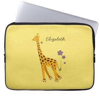 Custom Name Yellow Cute Cartoon Giraffe Computer Sleeves