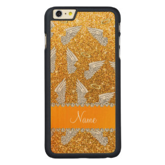 Custom name yellow glitter angel wings carved® maple iPhone 6 plus case