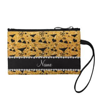 Custom name yellow glitter bikini bows coin purse
