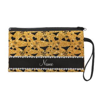 Custom name yellow glitter bikini bows wristlet purse