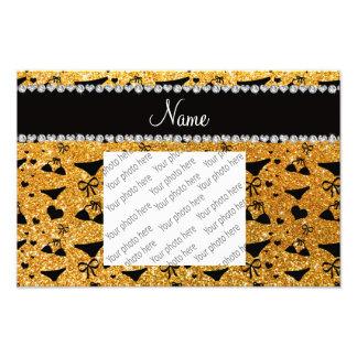 Custom name yellow glitter bikini bows photo print