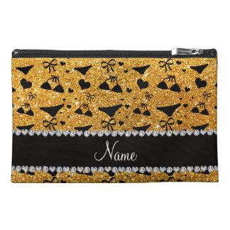 Custom name yellow glitter bikini bows travel accessories bags