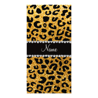 Custom name yellow glitter cheetah print customized photo card