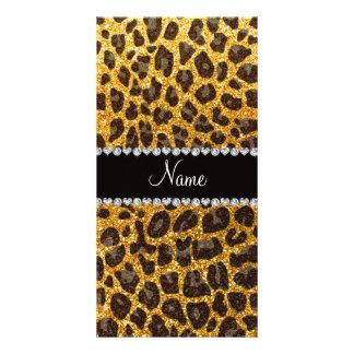 Custom name yellow glitter leopard print photo card template