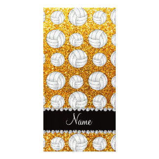 Custom name yellow glitter volleyballs photo greeting card