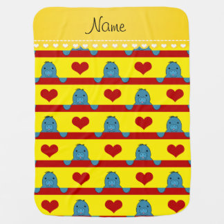 Custom name yellow manatees red hearts stripes baby blankets