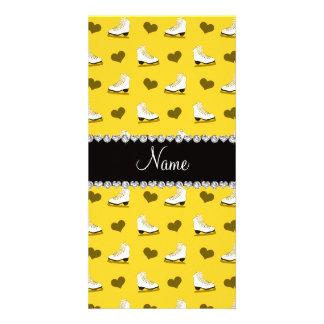 Custom name yellow skates and hearts photo card template