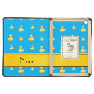 Custom name yellow stripe sky blue rubber duck iPad air cover