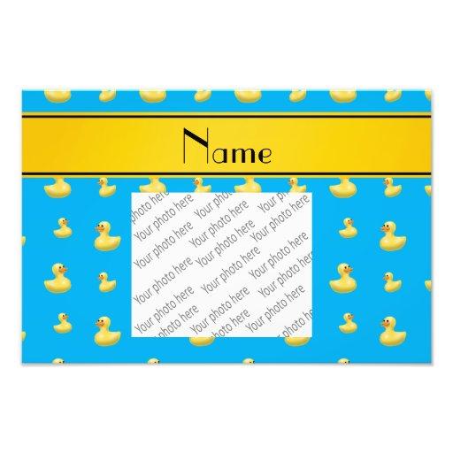Custom name yellow stripe sky blue rubber duck photograph