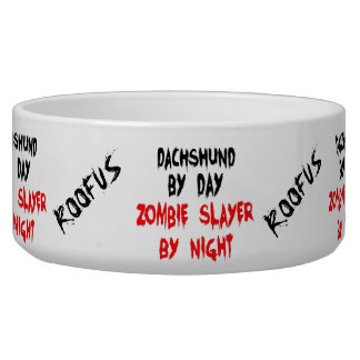 Custom Named Dachshund Dog Zombie Joke Food Bowl