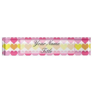Custom Nameplate Name Plate Desk Hearts Colorful