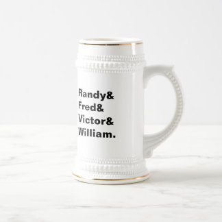 Custom names groomsmen group bachelor beer stein