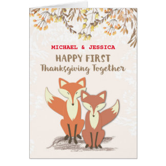 Custom Names Newlyweds 1st Thanksgiving Foxes Card