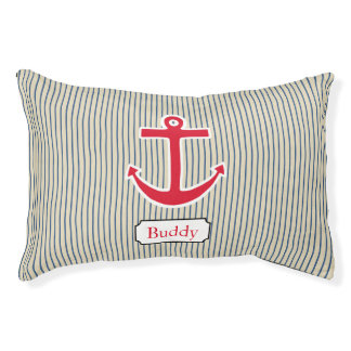 Custom Nautical Anchor Boat Dog Pet Bed Gift