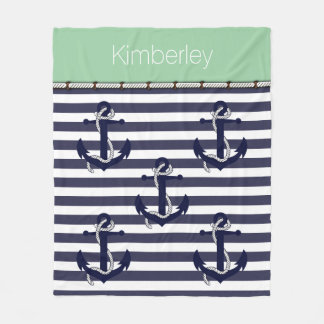 Custom Nautical Anchor Chic Stripes Pattern Fleece Blanket