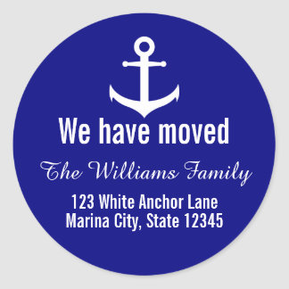 Custom Nautical Anchor Moving Announcement Classic Round Sticker