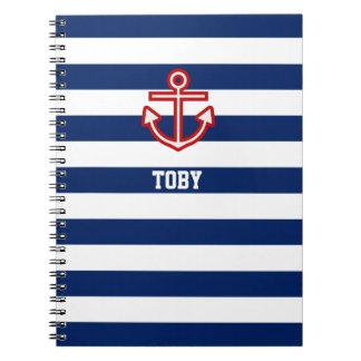 Custom Nautical Anchor Navy Blue White Stripes Notebook