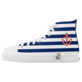 Custom Nautical Anchor Navy Stripes High Tops