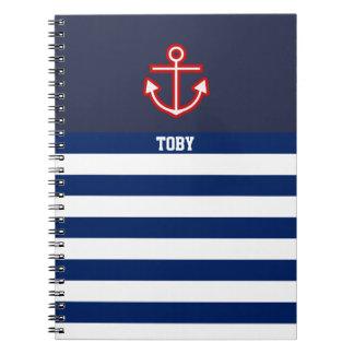 Custom Nautical Anchor Navy White Stripes Notebook
