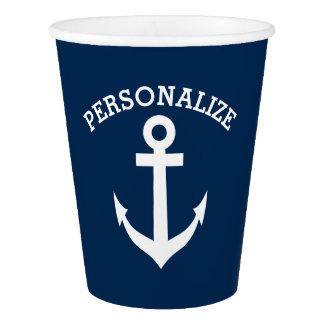 Custom nautical anchor wedding party paper cups