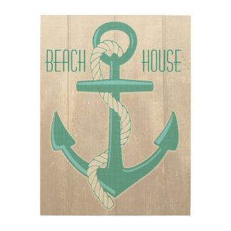 Custom Nautical Beach House Anchor Wood Wall Art