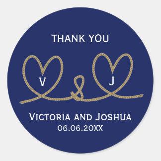 Custom Nautical Blue Hearts Rope Cord Wedding Classic Round Sticker