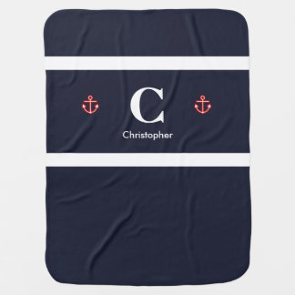Custom Nautical Navy White Stripes Baby Blanket