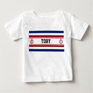 Custom Nautical Navy White Stripes Baby T-Shirt