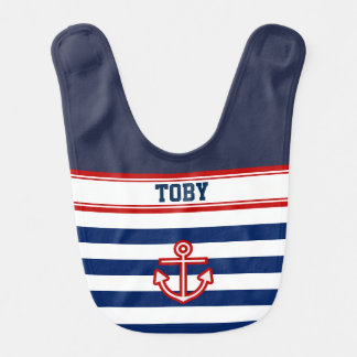 Custom Nautical Navy White Stripes Bib