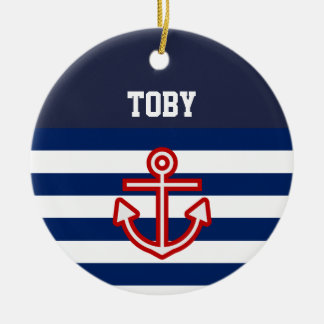 Custom Nautical Navy White Stripes Ceramic Ornament