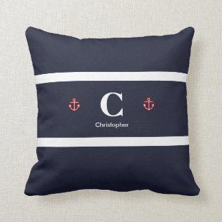 Custom Nautical Navy White Stripes Throw Pillow