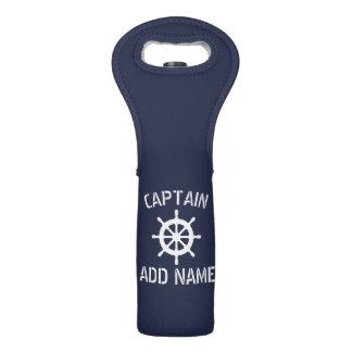 Custom nautical ship wheel wine bottle tote bag