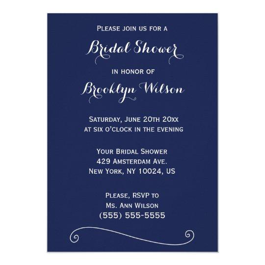 Custom Navy Blue And White Bridal Shower Invites