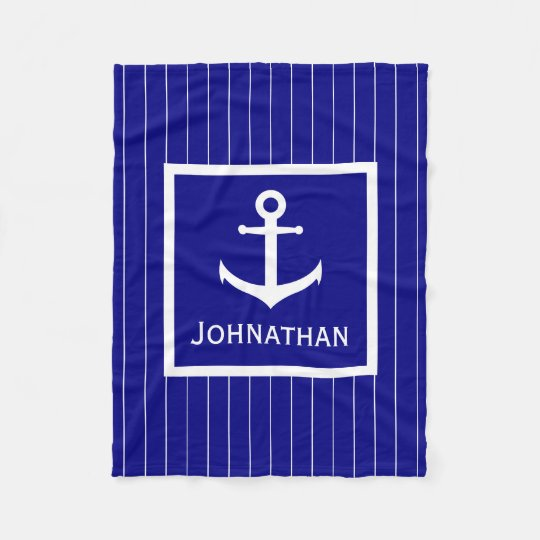 Custom Navy Blue and White Nautical Blanket