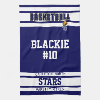 Custom Navy Blue and White Sport Basketball Kitchen Towel