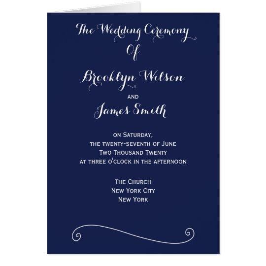 Custom Navy Blue And White Wedding Programs