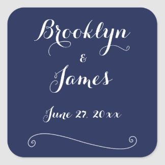 Custom Navy Blue And White Wedding Stickers