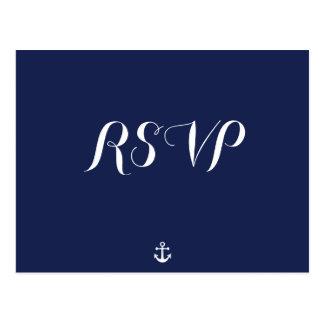 Custom Navy Blue Nautical Wedding RSVP Postcards